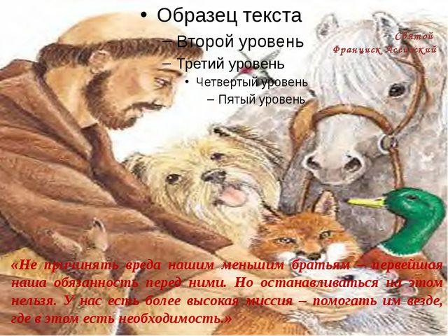 Святой Франциск Ассизский «Не причинять вреда нашим меньшим братьям – первей...