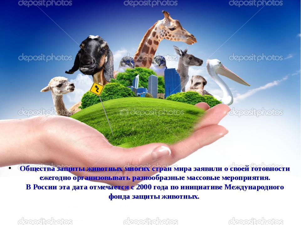 Общества защиты животных многих стран мира заявили о своей готовности ежегод...