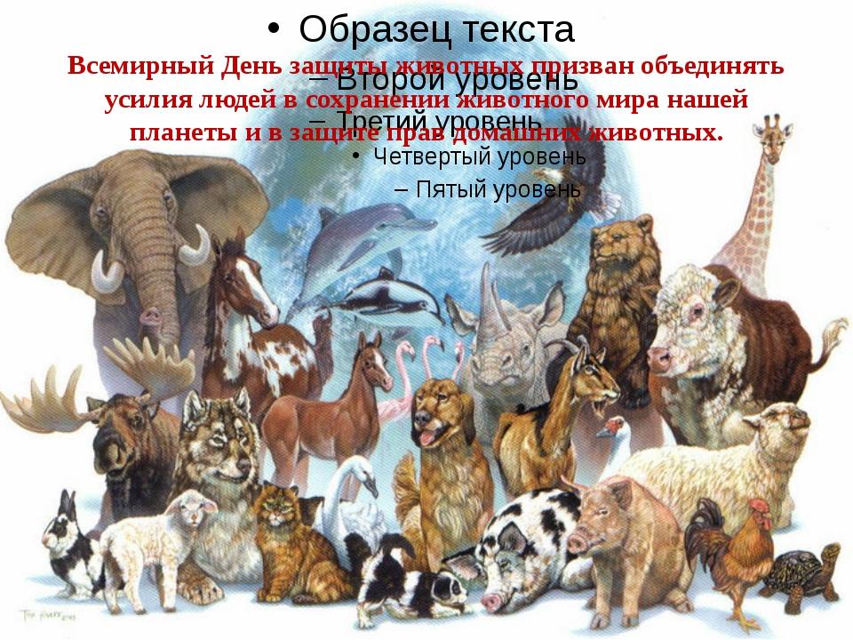 Всемирный День защиты животных призван объединять усилия людей в сохранении ж...