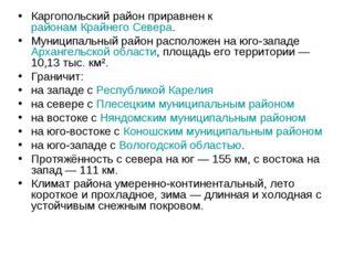 Каргопольский район приравнен к районам Крайнего Севера. Муниципальный район