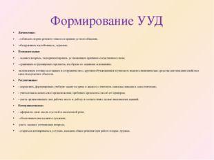 Формирование УУД Личностные: - соблюдать нормы речевого этикета и правила уст