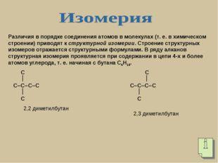 Различия в порядке соединения атомов в молекулах (т. е. в химическом строении