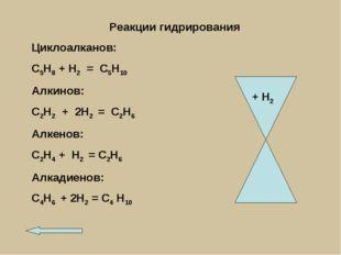 Реакции гидрирования Циклоалканов: С5Н8 + Н2 = С5Н10 Алкинов: С2Н2 + 2Н2 = С2