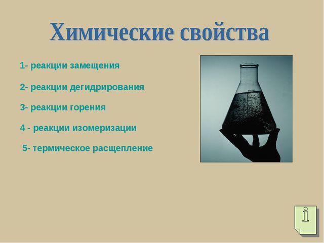 1- реакции замещения 2- реакции дегидрирования 3- реакции горения 4 - реакции...