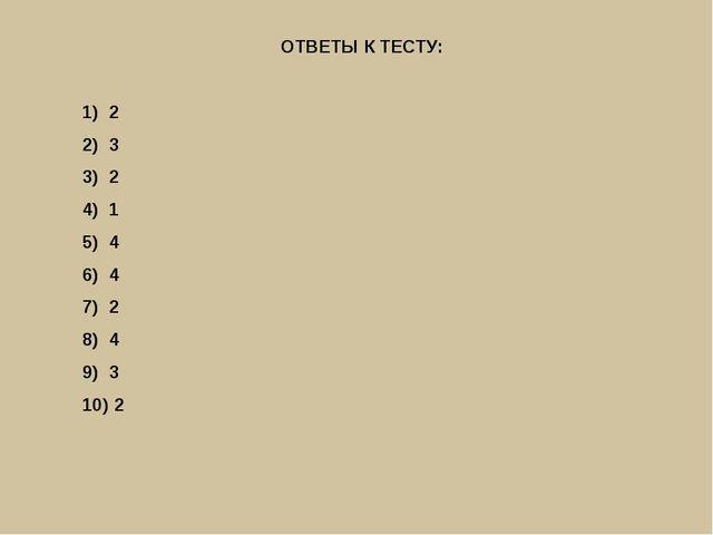 ОТВЕТЫ К ТЕСТУ: 2 3 2 1 4 4 2 4 3 2