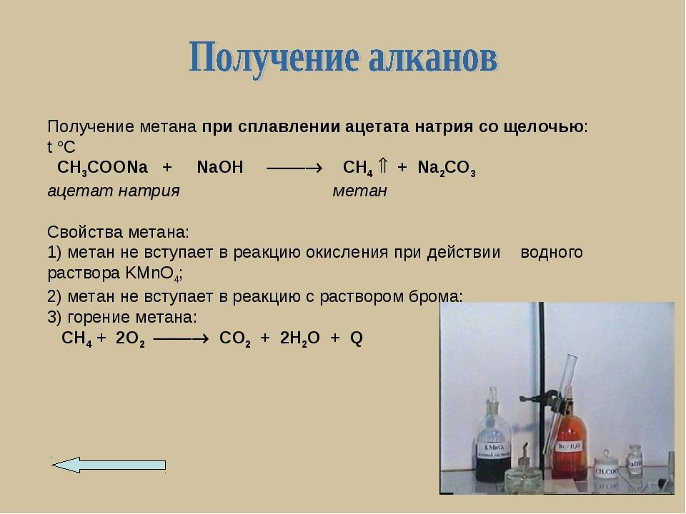 Получение метана при сплавлении ацетата натрия со щелочью: t C CH3COONa + Na...