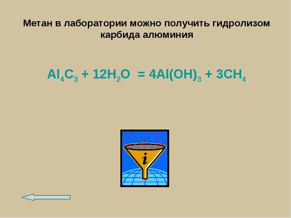 Метан в лаборатории можно получить гидролизом карбида алюминия Al4C3 + 12H2O...