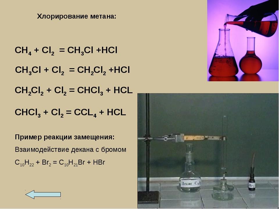Пример реакции замещения: Взаимодействие декана с бромом С10Н22 + Br2 = С10Н2...
