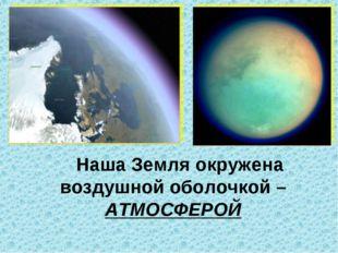 Наша Земля окружена воздушной оболочкой – АТМОСФЕРОЙ