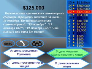 A: день рождения Пушкина C: день поступления в лицей B: день открытия Царско-