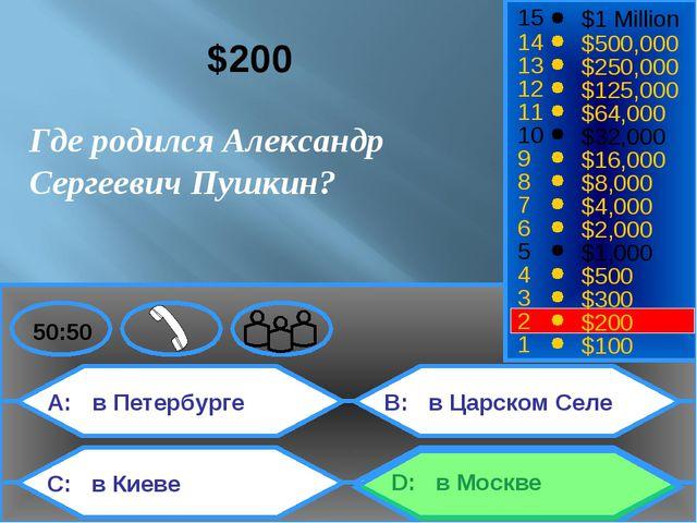 A: в Петербурге C: в Киеве B: в Царском Селе D: в Москве 50:50 15 14 13 12 11...