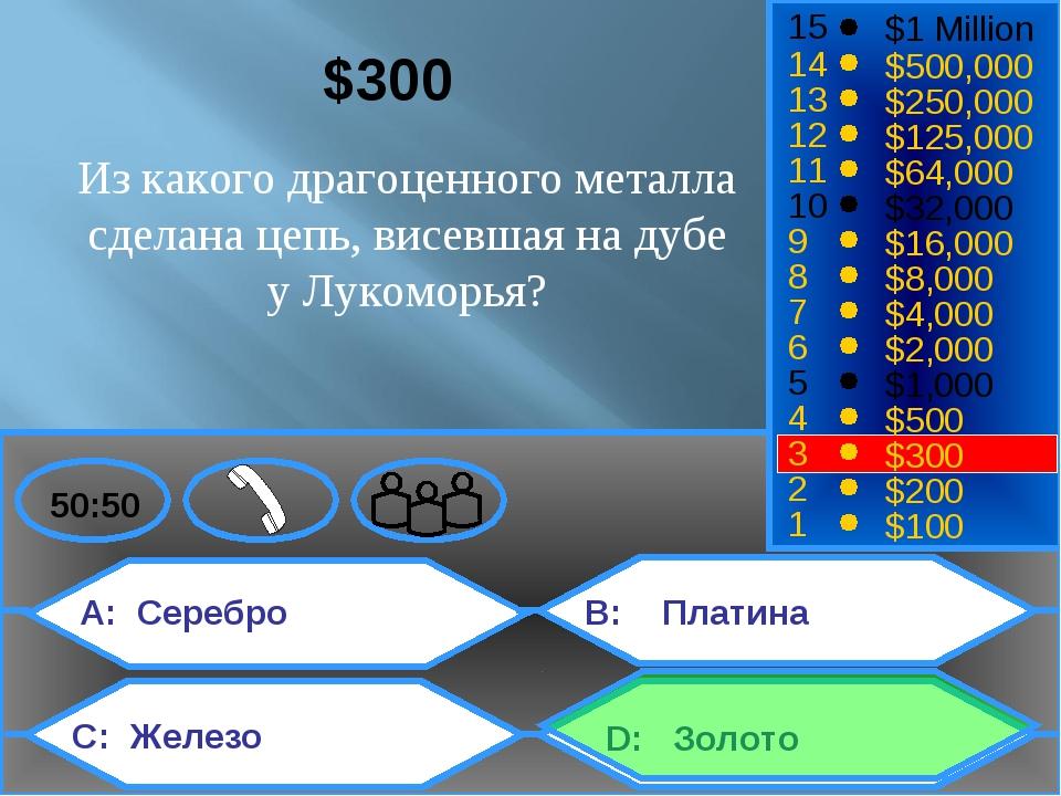 ЗЗОоо A: Серебро C: Железо B: Платина D: Золото 50:50 15 14 13 12 11 10 9 8...