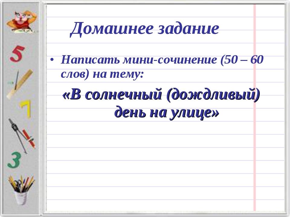 Написать мини-сочинение (50 – 60 слов) на тему: «В солнечный (дождливый) день...