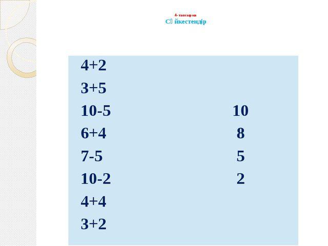 4- тапсырма Сәйкестендір 4+2 3+5 10-510 6+48 7-55 10-22 4+4 3+2