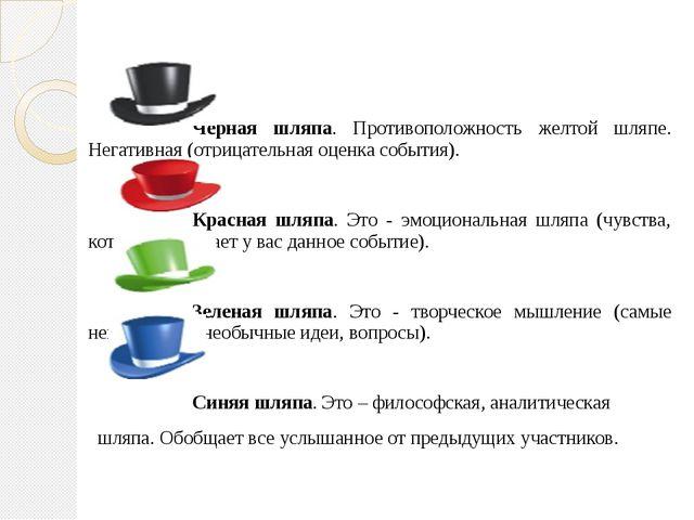Черная шляпа. Противоположность желтой шляпе. Негативная (отрицательная о...