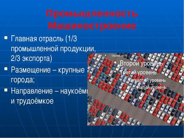 Промышленность Машиностроение Главная отрасль (1/3 промышленной продукции, 2/...