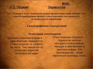 А.С. Пушкин Мужская и женская рифма в произведении чередуются. Стихотворение
