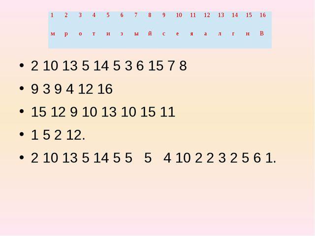 2 10 13 5 14 5 3 6 15 7 8 9 3 9 4 12 16 15 12 9 10 13 10 15 11 1 5 2 12. 2 1...