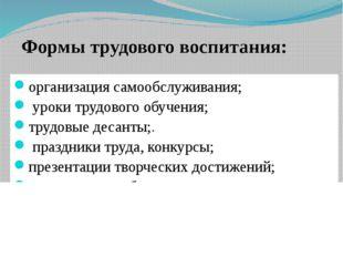 организация самообслуживания; уроки трудового обучения; трудовые десанты;. пр