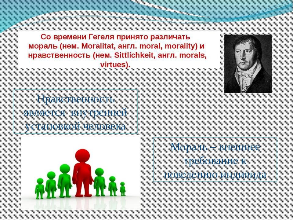 Нравственность является внутренней установкой человека Мораль – внешнее требо...