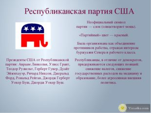 Республиканская партия США Неофициальный символ партии—слон(олицетворяет м