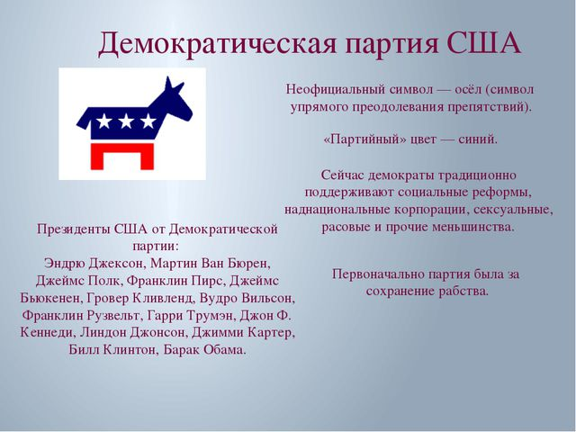 Демократическая партия США Неофициальный символ — осёл (символ упрямого преод...