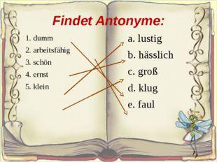 Findet Antonyme: 1. dumm 2. arbeitsfähig 3. schön 4. ernst 5. klein a. lus