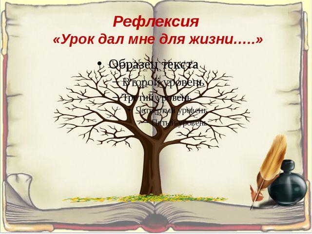 Рефлексия «Урок дал мне для жизни…..»