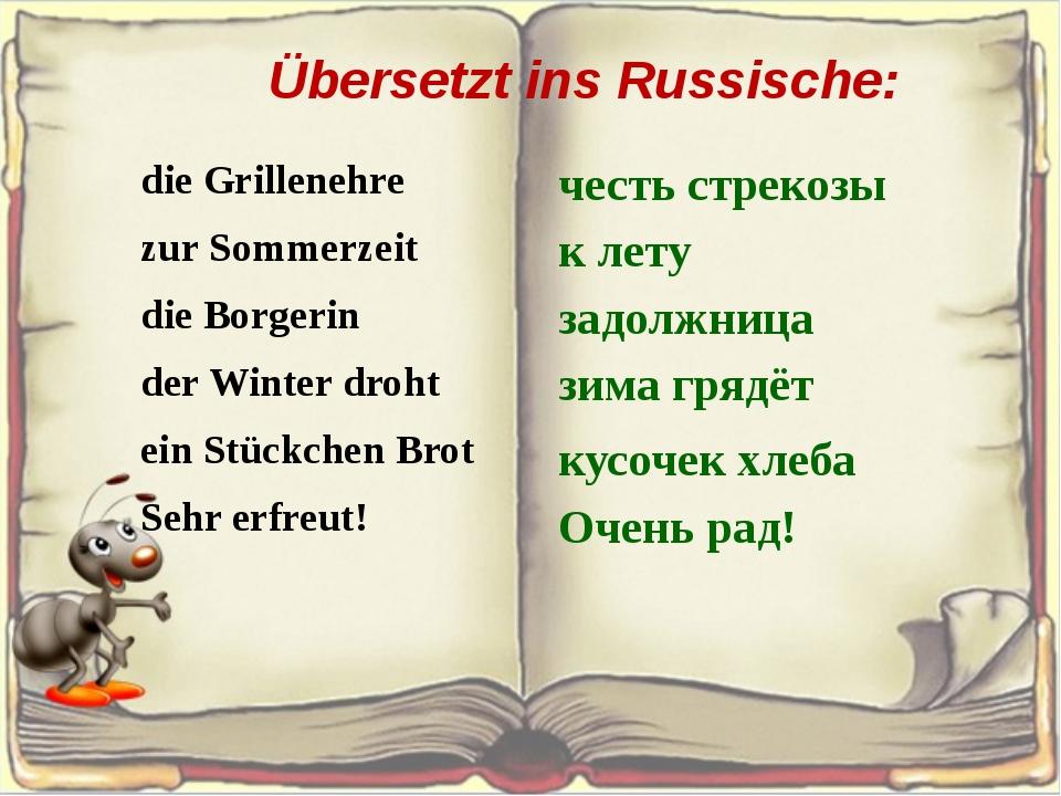 Übersetzt ins Russische: die Grillenehre zur Sommerzeit die Borgerin der Wint...