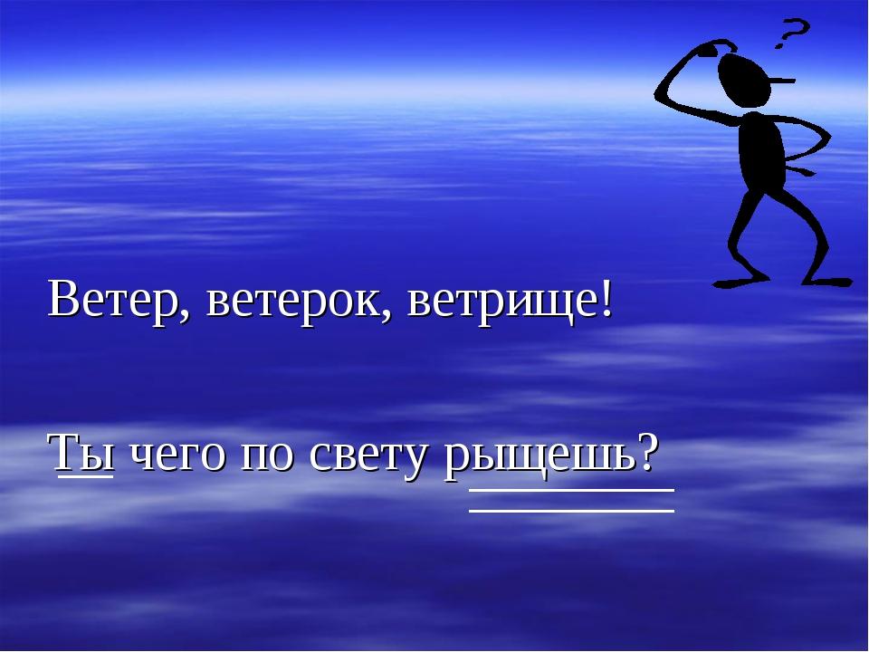 Ветер, ветерок, ветрище! Ты чего по свету рыщешь?