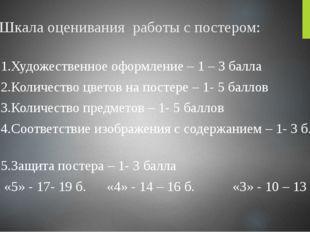 Шкала оценивания работы с постером: 1.Художественное оформление – 1 – 3 балла