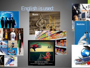 English is used: Business Science Music Food Clothes Medicine Sport Art Educa