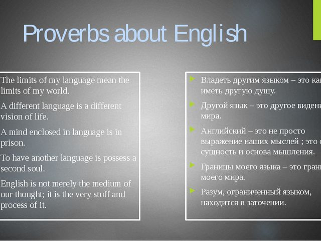 Proverbs about English The limits of my language mean the limits of my world....