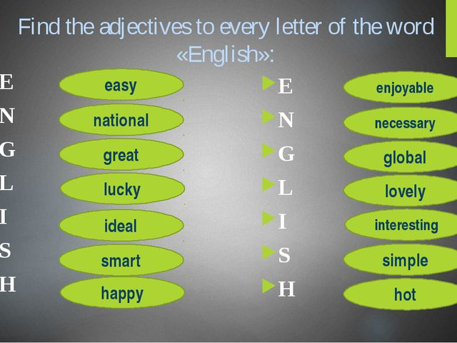 Find the adjectives to every letter of the word «English»: E N G L I S H E N...