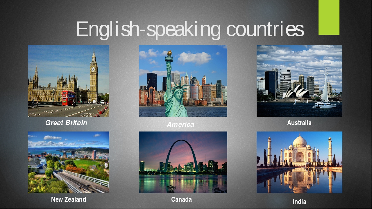 English-speaking countries Great Britain America Australia New Zealand Canada...