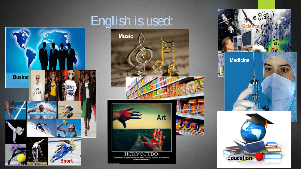English is used: Business Science Music Food Clothes Medicine Sport Art Educa...