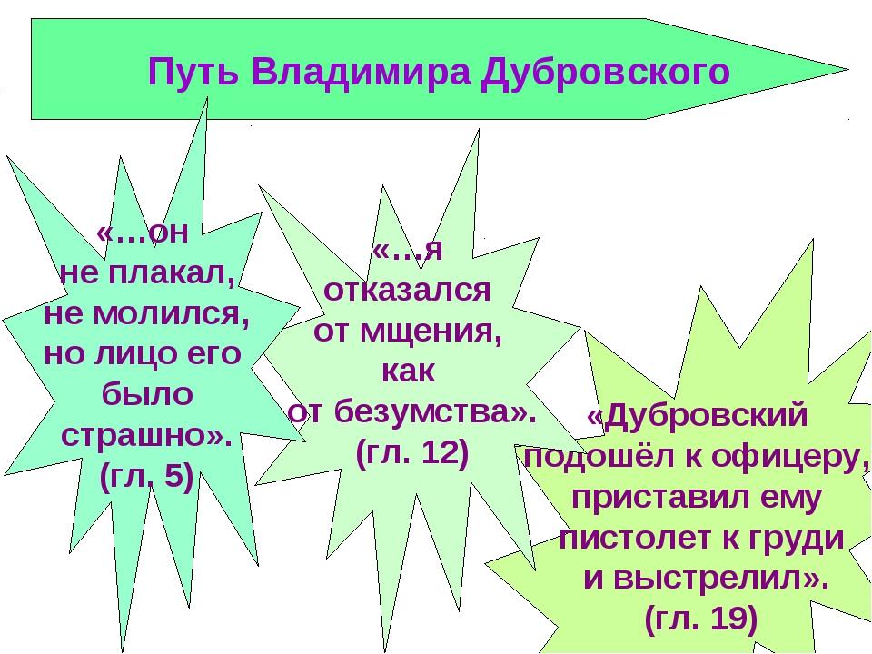 Путь Владимира Дубровского «Дубровский подошёл к офицеру, приставил ему писто...