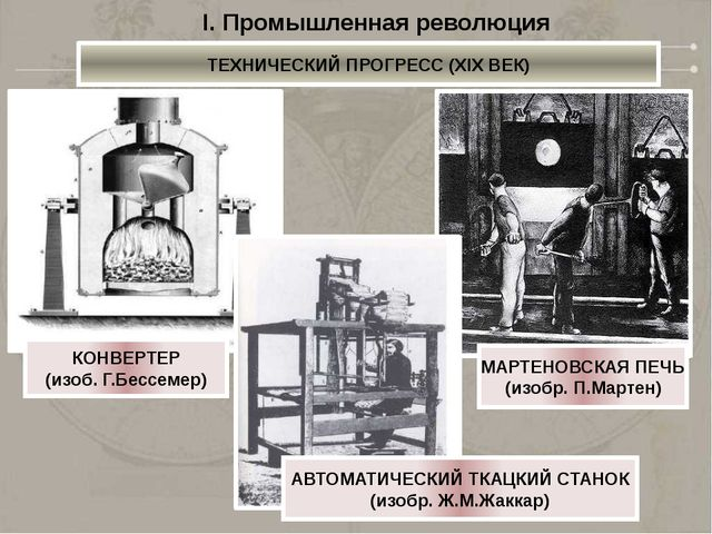 I. Промышленная революция ТЕХНИЧЕСКИЙ ПРОГРЕСС (XIX ВЕК) 1825 – ПЕРВАЯ ЖЕЛЕЗН...