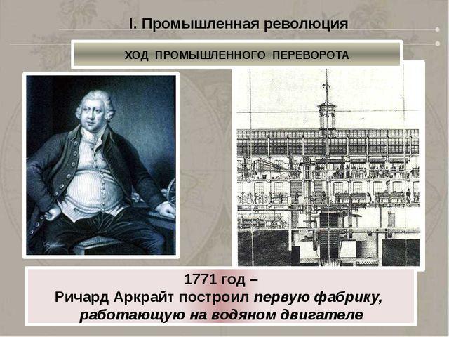 I. Промышленная революция ХОД ПРОМЫШЛЕННОГО ПЕРЕВОРОТА 1784 год – Джеймс Уатт...