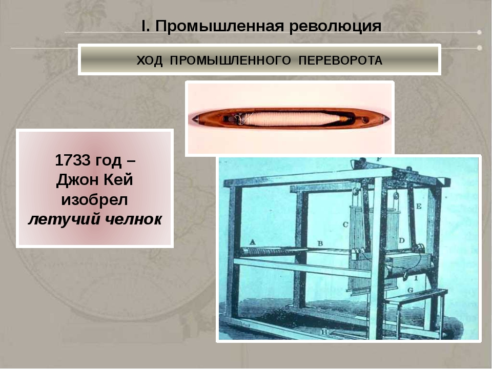 1765 год – Джеймс Харгривс изобрел механическую прялку «Дженни» I. Промышлен...