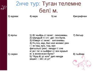 2нче тур: Туган телемне беләм. 3) куркак 4) кара 5) ак 6)исрафчан 2) ярлы