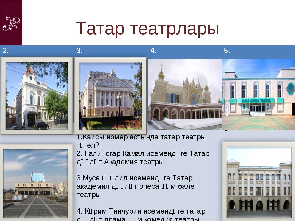 Татар театрлары 2.3.4.5. 1. Кайсы номер астында татар театры түгел? Галиә...