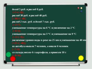 доход 5 руб. и расход 8 руб. (+5+(8)); расход 30 руб. и расход 40 руб. (30)