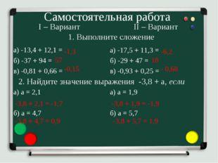 Самостоятельная работа I – Вариант а) -13,4 + 12,1 = б) -37 + 94 = в) -0,81 +