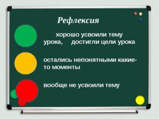 хорошо усвоили тему урока, достигли цели урока остались непонятными какие-то