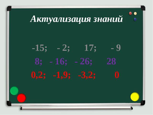 Актуализация знаний -15; - 2; 17; - 9 8; - 16; - 26; 28 0,2; -1,9; -3,2; 0
