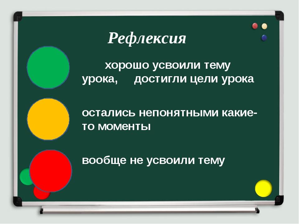хорошо усвоили тему урока, достигли цели урока остались непонятными какие-то...