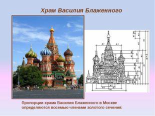 Пропорции храма Василия Блаженного в Москве определяются восемью членами золо