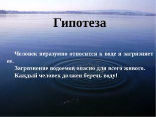 Гипотеза Человек неразумно относится к воде и загрязняет ее. Загрязнение водо