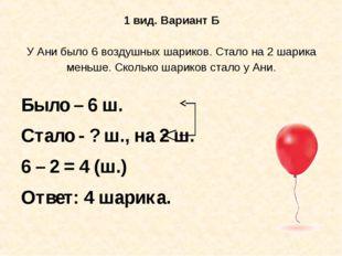 1 вид. Вариант Б У Ани было 6 воздушных шариков. Стало на 2 шарика меньше. Ск